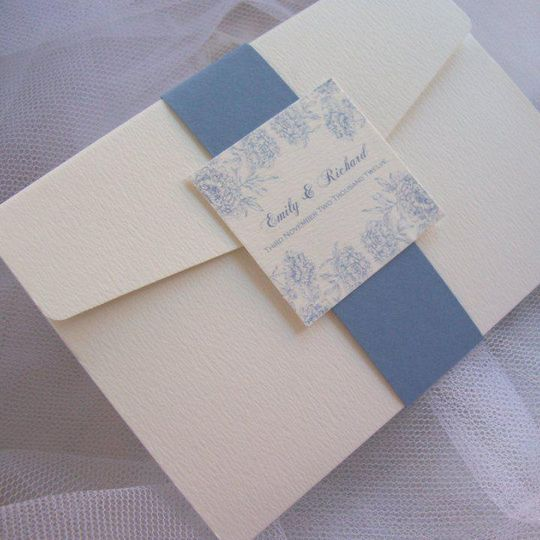 Antique Floral Wedding Pocketfold Invitation with Belly Band Wrap