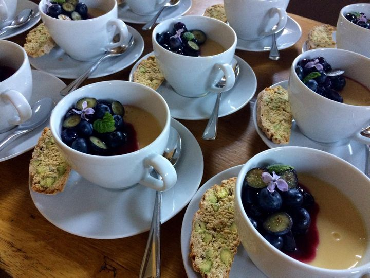 Lemon posset with Blueberries