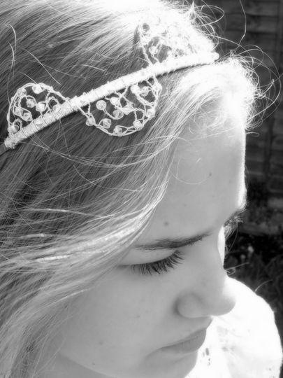 Deco style crystal side tiara