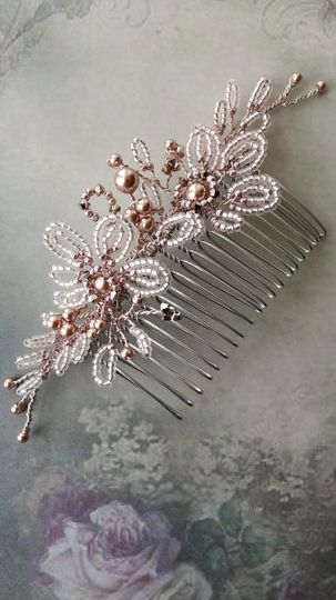 Rose gold flower hair comb