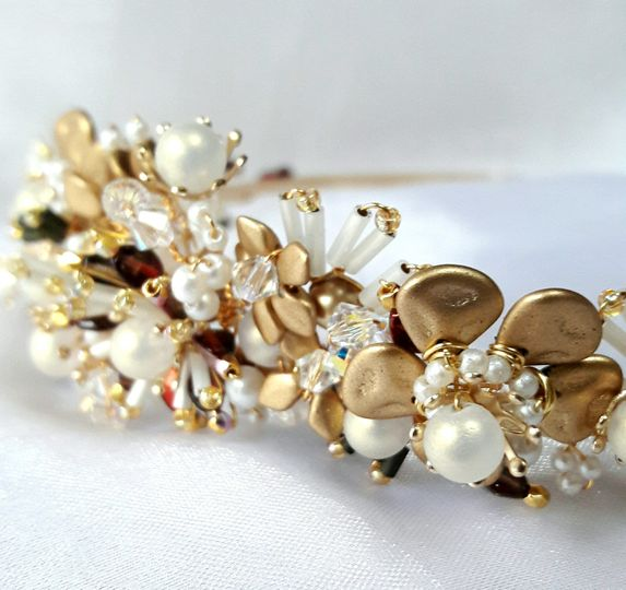 Gold and white floral tiara