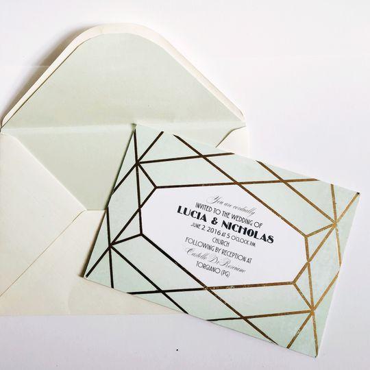 Foil press diamond invite