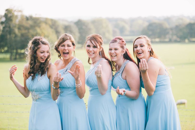 Bridesmaids sharing a giggle