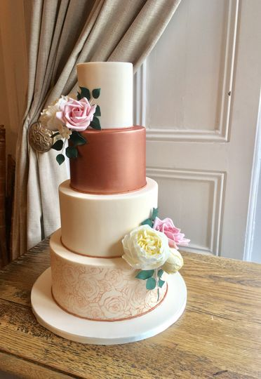rose gold and cream wedding cake sofia gold wedding cake from just yours wedding cakes 19267