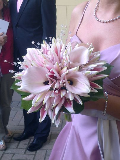 Crystal pink lily bouquet