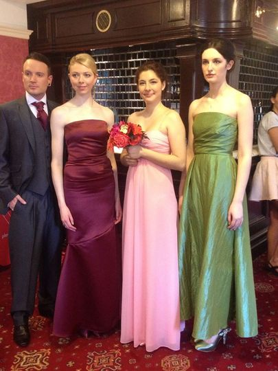 dresses all by Here Come The Bridesmaids with matching shoes and suit by Most Suitable