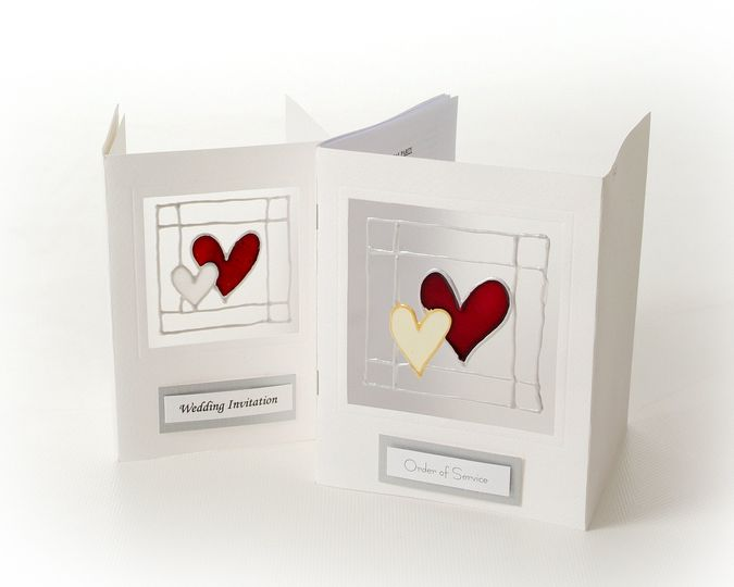 Hand Painted wedding heart Invitations