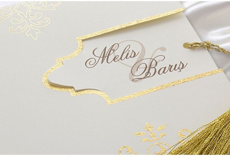 Gold Embroidery Wedding Card