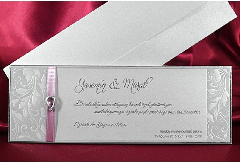 Pink ribbon wedding cards
