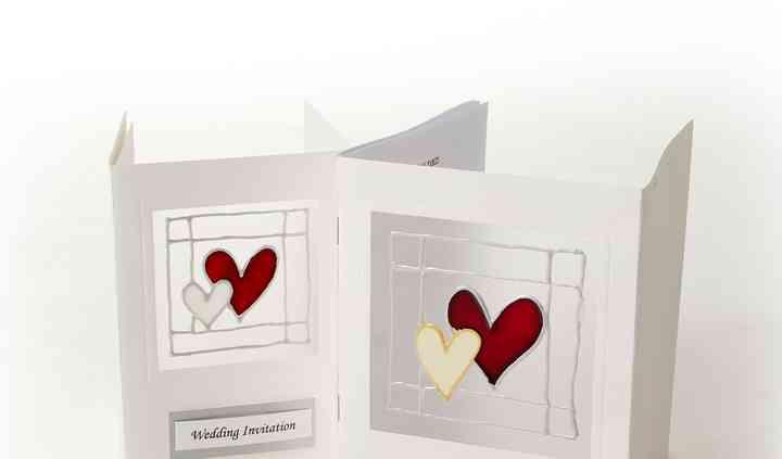 Hand Painted wedding heart Invitations