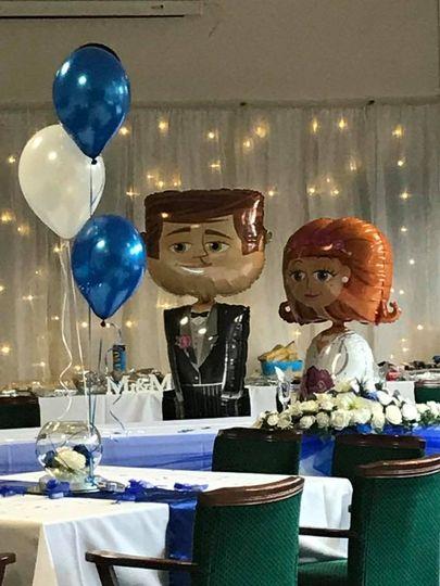 Balloons bride groom walkers