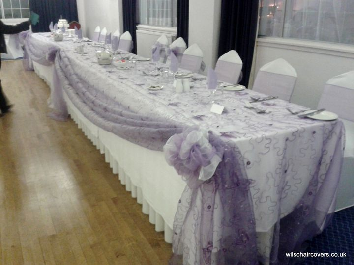 Lace top table swag