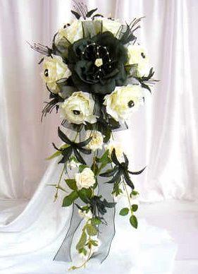Cream & black rose bouquet
