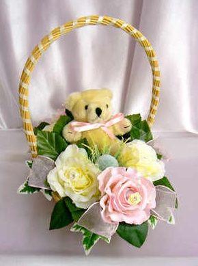 Cream & pink bridesmaid basket