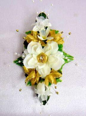 Cream & gold pearl corsage