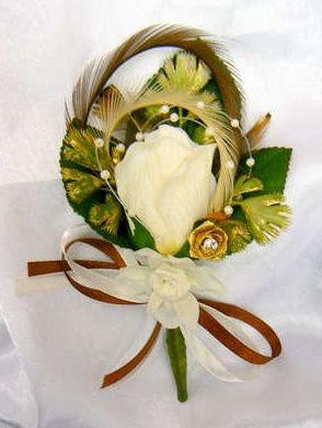 Fancy cream rose corsage