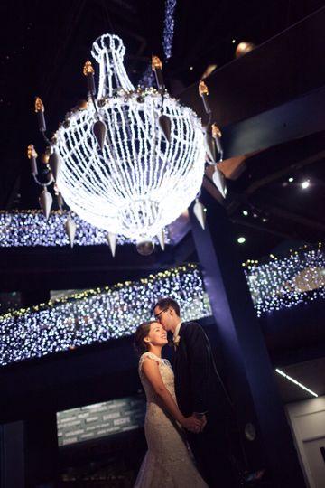 Kiss under the chandelier