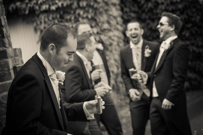 Grooms party laughing