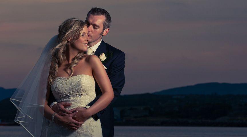 Twilight beach wedding photo