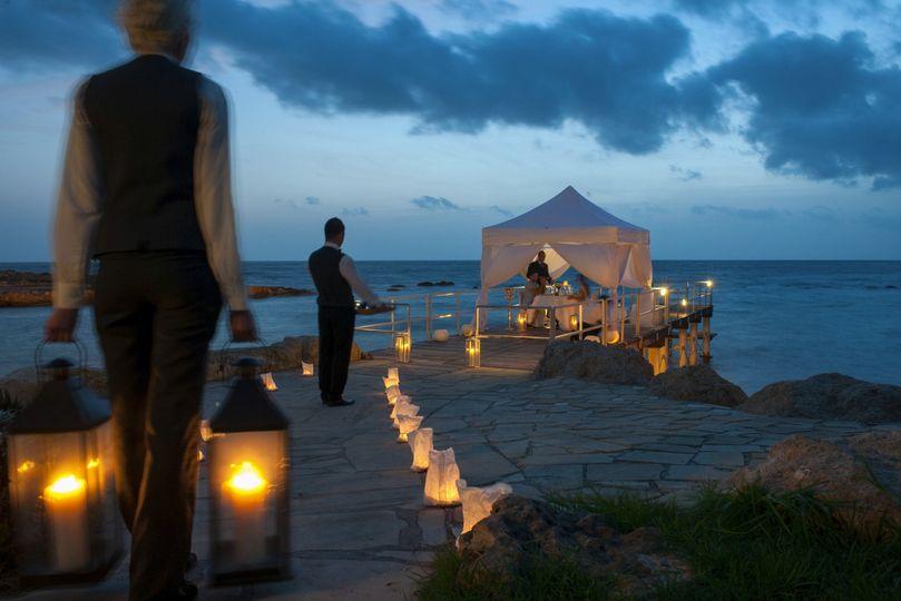 Intimate pier dinner