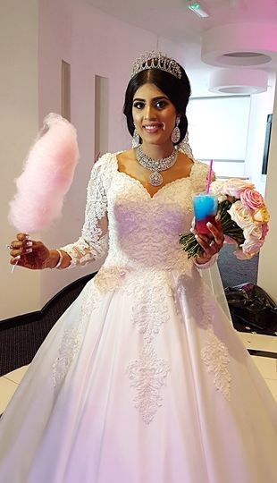 Bride loving her candy floss