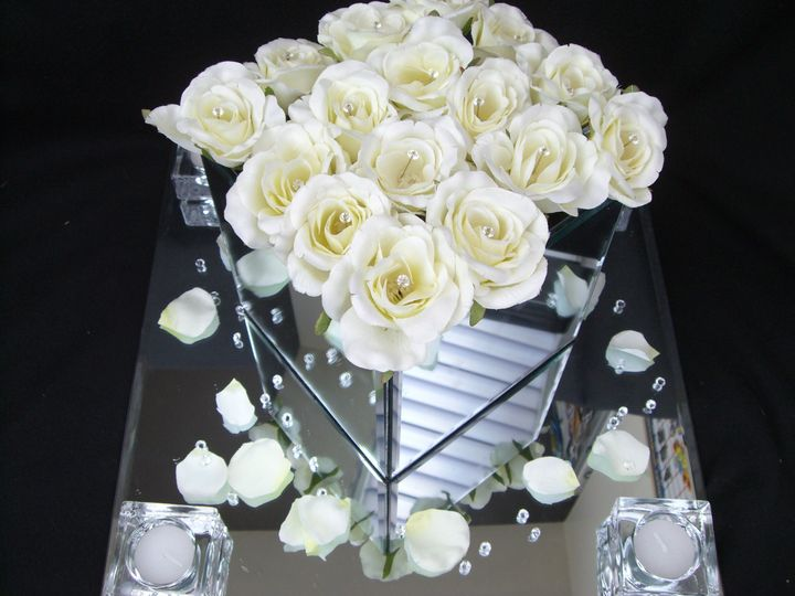 Mirrored vases and roses
