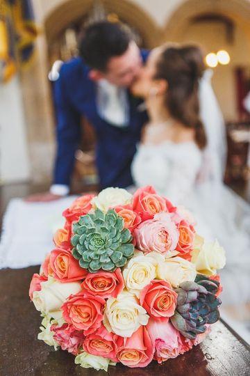 Peaches and cream bridal