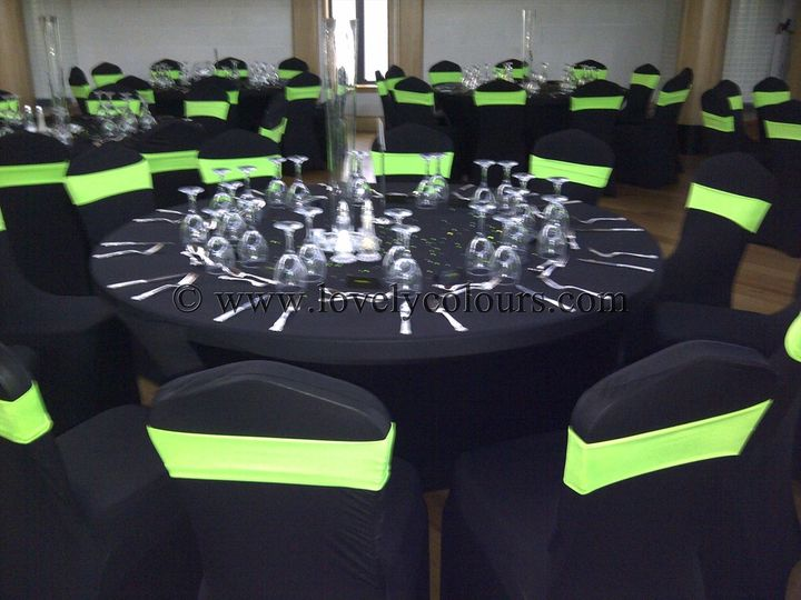 Black chair covers lime green