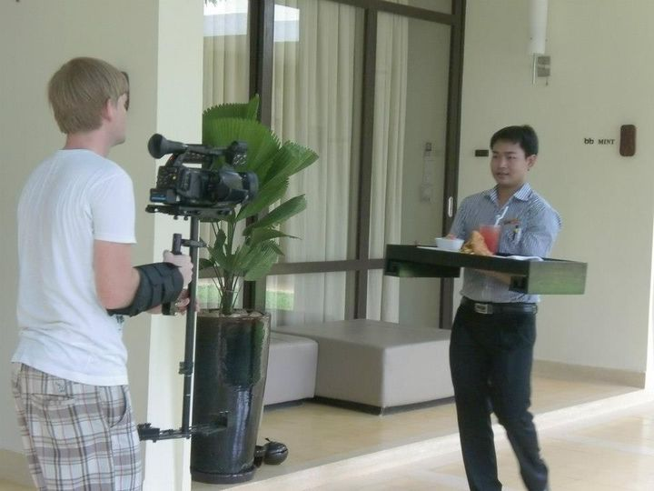 Himself operating his steadicam for shots of a waiter delivering room service at FCC Angkor.