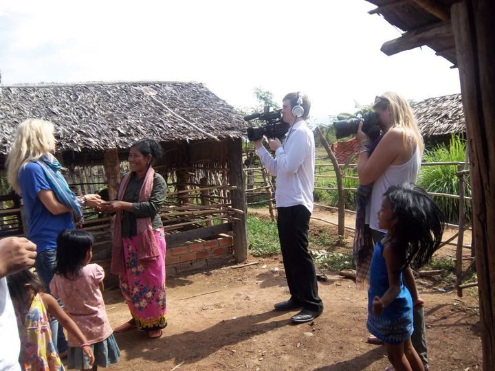 Shooting dutch celebrity Vivian Reijs in a small Cambodian Village for an NGO project in early 2011 which was shown on National Television in Holland.
