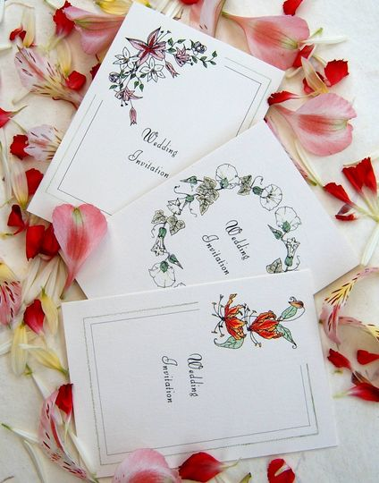 Hand Tinted Floral Invitations