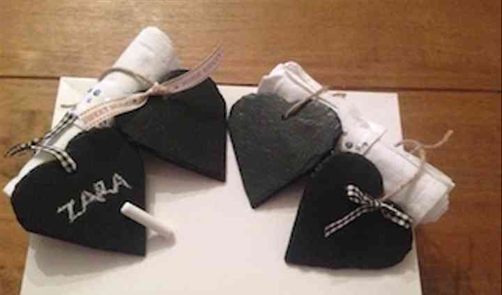 Heart favours and name tag