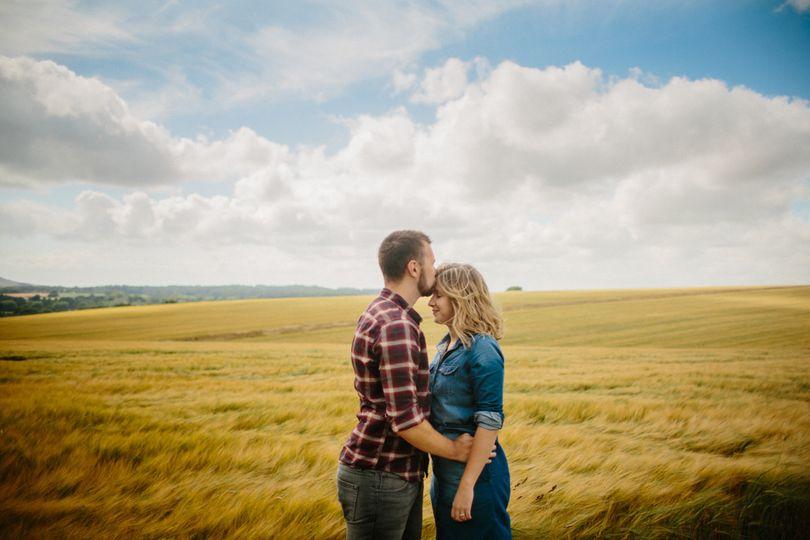 Golden fields engagement shoot