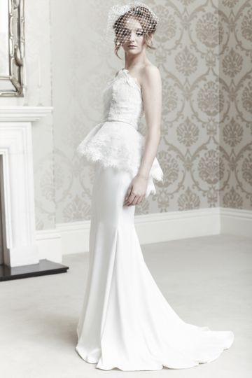 Lace Silk peplum wedding dress