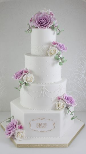 Lavender rose and gold cake