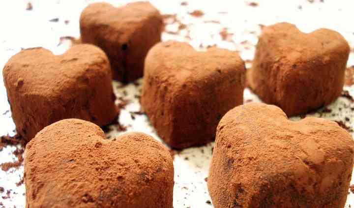 Heart shaped rum truffles