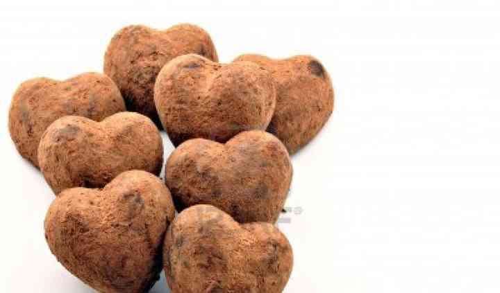 Heart shaped caramel truffles
