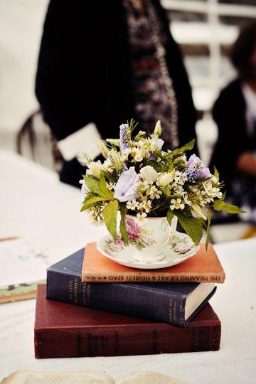 Teacup flowers + vintage books