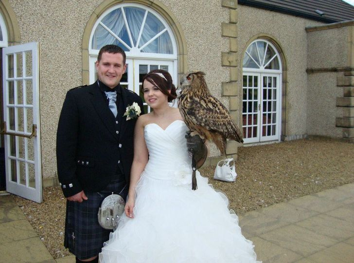 Xena with bride and groom