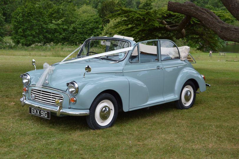 Blue Morris Minor Convertible