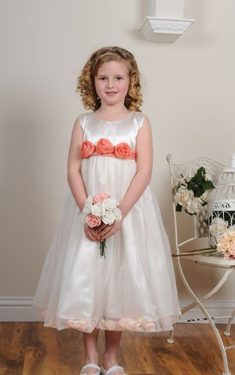 Peach petal flower girl dress