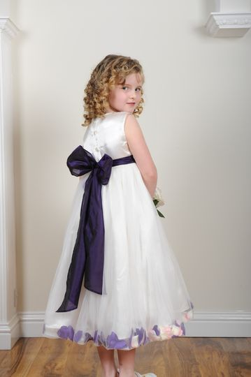 Purple petal flower girl dress