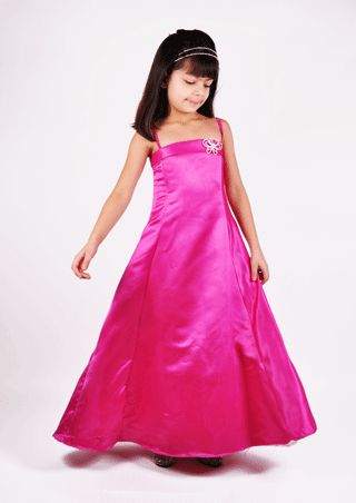 Fuschia gown bridesmaid dress