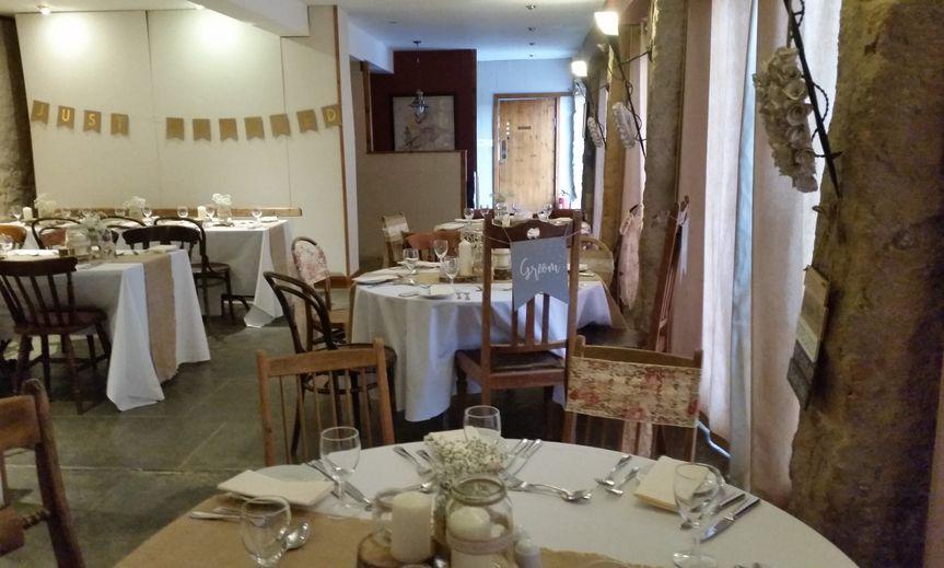 Wedding reception in cafe