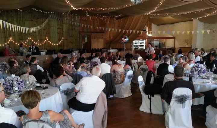 Wedding reception in 'cowshed'
