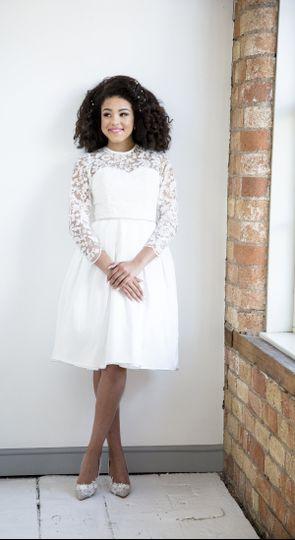 Tea length dress with 3D lace