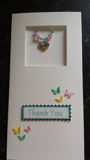Bridesmaid charm thankyou card