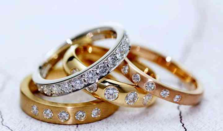 Diamond-set wedding rings