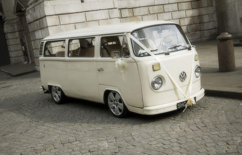 White vintage vw camper