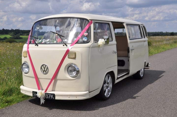 Cream vw camper wedding
